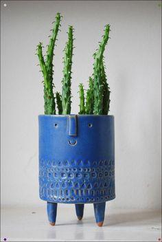 Blue Face Tripod Planter, diy c … – Cactus Cactus Planta, Cactus Y Suculentas, Cactus Cactus, Succulent Pots, Cacti And Succulents, Ceramic Pottery, Ceramic Art, Pottery Pots, Ceramic Design