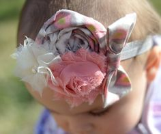Baby Girl Headbands... Coral Gray and Ivory by BelleBandsBoutique, $9.99