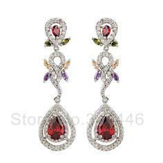 free ship Zircon earrings popular Korean version of the exaggerated retro Austrian crystal earrings $20.40