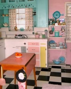 mint and pink retro kitchen