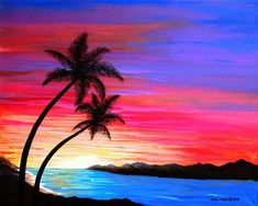 """Southwest Landscapes """"Tropical Sunset"""" acrylic on canvas. 16 x 20 in."""