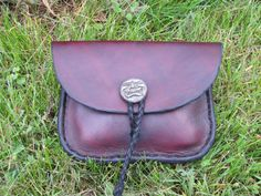 Leather Belt Pouch with Pewter Button by HawkStudio on Etsy, $60.00