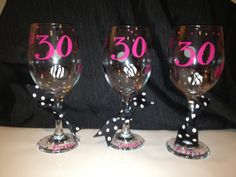 Personalized Wineglasses 20 oz 30th 40th 50th Birthday by cgirard5, $10.00