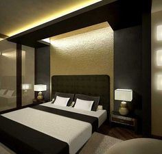 contemporary bedroom interior design ideas and wall decoration in golden colors