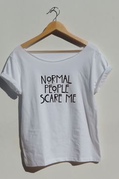 "American+Horror+Story+off+shoulder+tshirt+""Normal+People+Scare""+Me+shirt+gray+or+white+color+.  NOTICE:+The+tank+top+is+not+included.    Off+Shoulder+loose+style+(unisex+shirts)+If+want+it+form+fitting,+order+a+size+smaller.  See+size+chart+for+sizing+(view+all+pictures)  t+shirt+and+hoodie+also+..."