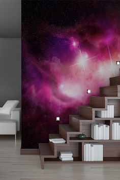 Galaxy wallpaper with stairs Bedroom Wall, Teen Bedroom, Bedrooms, Interior Exterior, Interior Design, Photowall Ideas, Galaxy Room, Room Goals, New Room