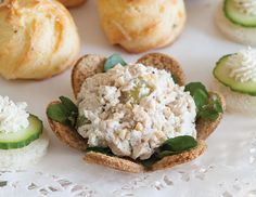 Fresh tarragon adds flavor to Tarragon-Poppy Seed Chicken Salad, served in toasted, flower-shaped bread cups.