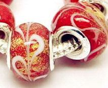 1 Red white swirl with Gold Dust Lampwork by SouthBreezeSupplies, $2.75
