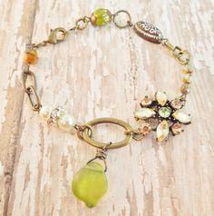 Peridot Dreams- Vintage Assemblage Charm Bracelet - Vintage Repurposed Jewlery- Peridot Green, Oatmeal and Pearl