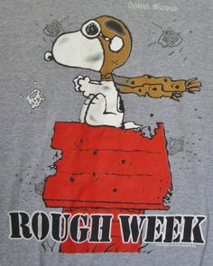Peanuts Snoopy Red Baron T-shirt Large Rough Week Oshkosh Wisconsin Gray Mens