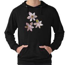 Spring Pink blossom branch Lightweight Hoodie by #PLdesign #FlowerGift #spring #blossoms
