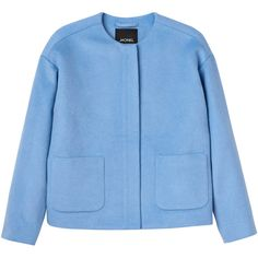 Monki Betty jacket (44 AUD) ❤ liked on Polyvore featuring outerwear, jackets, tops, chaquetas, bright sky, blue zipper jacket, monki, zipper jacket, wool zip jacket and blue jackets