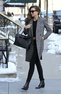 Long tweed coat + black top & bottom
