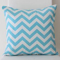 Bright Blue / Aqua Chevron Cushion Cover by raenne on Etsy, $20.00