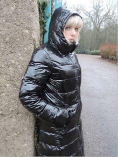 Nylons, Down Puffer Coat, Puffer Coats, Hooded Winter Coat, Winter Coats, Coats For Women, Jackets For Women, Pvc Raincoat, Puffy Jacket