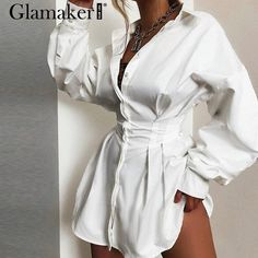 Solid color deep V neck waist sexy shirt shift dresses Shift Dresses, Sexy Dresses, Beautiful Dresses, Dress Outfits, Fashion Outfits, Style Fashion, Camisa Formal, Mini Shirt Dress, Button Down Shirt Dress