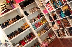 She has a shoe fetish. Naturally, shed have an amazing shoe closet. I imagine hers is only half the size of this one, though she has the biggest walk-in closet in the house. Walk In Closet, Closet Space, Shoe Closet, Shoe Room, Closet Office, Wardrobe Closet, Teen Closet, Closet Clothing, Pink Closet