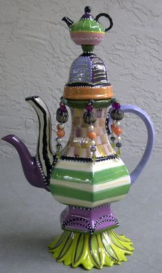 Living Color - Whimsical Teapot by Cybill Ceramics Teapots Unique, Ceramic Teapots, Ceramic Art, Tea Pot Set, Teapots And Cups, Mad Hatter Tea, My Cup Of Tea, Chocolate Pots, Decoration
