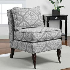 @Overstock.com - Cassidy Grey Armless Chair - This stylish grey and white chair from Cassidy will add a pop to any home d�cor. A trendy pattern and espresso finish complete this versatile chair.   http://www.overstock.com/Home-Garden/Cassidy-Grey-Armless-Chair/7009144/product.html?CID=214117 $179.99