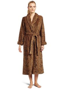e2cfe337da Womens 50 Inch Shawl Collar Robe Leopard Wrap Robe - Leopard Print -  CA1154WEKBV