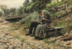Artist : Peder Mork Mønsted (Danish , 1859 - 1941) Description : Old peasant…
