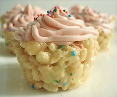 *Cake Batter Rice Krispies Ingredients 6 T margarine* 3/4 cup Vanilla cake mix 1/2 t vanilla extract 3 cups Rice Krispies 5oz bag of marshmallows 1 T sprinkles. Put in greased Muffin pan and cool for 30 mins. for 9x13 double recipe. makes 24 mini cupcakes