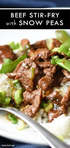 This Stir Fry Beef with Snow Peas is quick, easy, and delicious - on the table in 25 minutes! #stirfry #beef #quickandeasy #recipe Pasta Dinner Recipes, Stir Fry, Asian Recipes, Fries, Asian Food Recipes