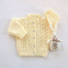 Baby cardigan 0 to 6 months Yellow baby sweater by LurayKnitwear