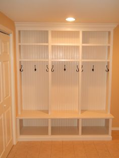 Mudroom Lockers with Bench Built Ins Laundry Room Storage, Locker Storage, Storage Shelves, Cubbies, Ceiling Storage, Storage Room, Closet Storage, Reno, Cool House Designs