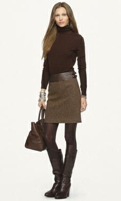 Leather-Trimmed Kieron Skirt - Black Label  Short Skirts - RalphLauren.com