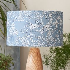 Floral blue lampshade from my Arla collection. Perfect for lounges, bedrooms and any home interior project Blue Lamp Shade, Shades Of Blue, Floral Lampshade, Gypsophila, Lampshades, Lighting Design, Floral Design, Lounges, Wallpaper