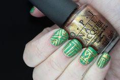 Polish All the Nails: Green and Gold Art Deco Nails