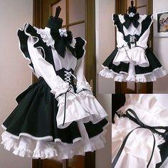 gothic cosplay lolita dress~black white popular happy~lively handmade lofty
