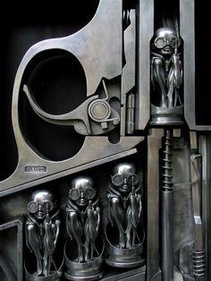 Description English: H. R. Gigers, Birth Machine sculpture in Gruyères, Switzerland Date19 June 2010 shows Birth Machine sculpture by H. R. Giger
