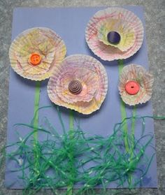The Active Toddler: Spring Flowers Craft with Cupcake Wrappers & Easter Grass  @Sara Eisenhauer Moyer