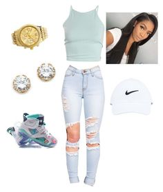 """""""Untitled #58"""" by jadechanteon on Polyvore featuring Kenneth Jay Lane, Charlotte Russe and NIKE"""