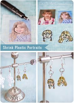Shrink plastic portraits - by Craft & Creativity If you can trace/copy it onto shrink plastic sheet then you can do a project with it. Cool!