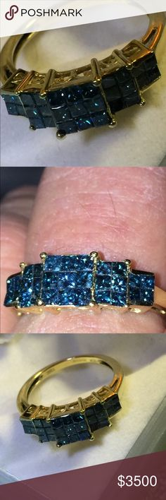 100% Natural Blue Diamonds & Yellow Gold Ring 100% Natural Blue Diamonds in Yellow Gold by Thomas Rae I recently had to have 2 Diamonds replaced & since this ring is the invisible setting style is was quite expensive. Each diamond was $350. + an additional $285. Labor. W tax $1000. The jeweller appraised the Diamonds for me & informed me that each natural Blue Diamond (29 in all) are worth $600-$1000. ! A total of UP TO $29,000! Not including the gold ! That's a hell of a lot of $$ . But I…