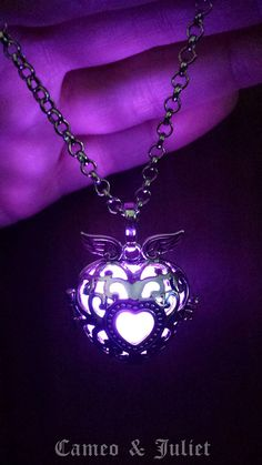 Purple Glowing Pendant Necklace Winged heart Locket Silver