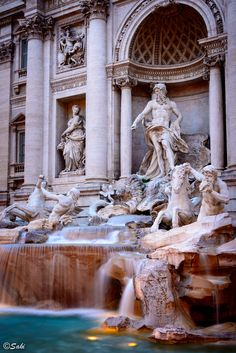 Trevi Fountain, Rome, Italy- had to take my (not this) pic of the fountain from inside the Benneton store across the plaza b/c no wide angle lens.  Tight quarters but amazing history!!