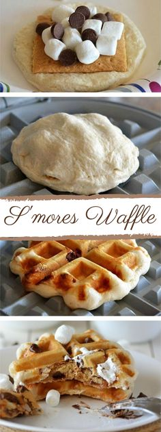 Go Ahead, Waffle Your S'mores : Satisfy s'mores cravings any time with your waffle iron and four ingredients you probably have already! Satisfy s'mores cravings any time with your waffle iron and four on-hand ingredients. Breakfast And Brunch, Breakfast Recipes, Dessert Recipes, Breakfast Waffles, Waffle Maker Recipes, Yummy Treats, Yummy Food, Foods With Iron, Just Desserts