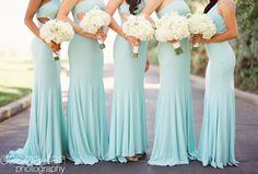Glamorous pale aqua bridesmaid dresses