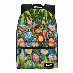 d1d4b9cf4fff  24.32 Boys High Quality Casual Printing Animal Backpack Multicolor Cartoon  Cute Monkey School Bags dakine Backpack