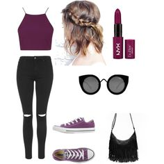 My First Polyvore Outfit by marianzebani on Polyvore featuring Topshop, Converse, Quay, women's clothing, women's fashion, women, female, woman, misses and juniors