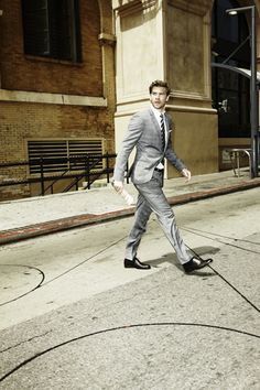 Hugo suit. Boss Black tie. Ermenegildo Zegna shirt. Gucci belt. Bottega Veneta shoes,