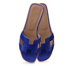 Oran Hermes ladies' sandal in blue nappa leather with hazelnut lining and leather sole