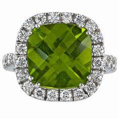 6.78 Carat Peridot Diamond Gold Cluster Ring