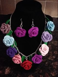 Gift aisha jewelry, lovely gift, Matching set for her,Fashion gift idea by GiftAishaJewelry on Etsy Colorful Roses, Matching Set, Handmade Polymer Clay, Fashion 2017, Red And Pink, Crochet Necklace, Handmade Jewelry, Magic, Colour