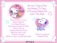 Snoopy peanuts baby shower invitation digital printable baby girl hosting a baby snoopy shower filmwisefo