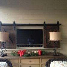Custom barn doors for a TV cover. European Antique Pine Warehouse in Roswell, GA